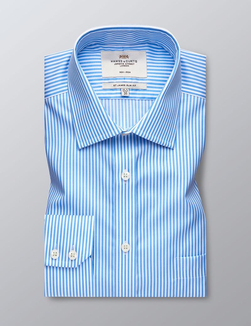 Bügelfreies Businesshemd – Slim Fit – Brusttasche – Blau & weiß gestreift