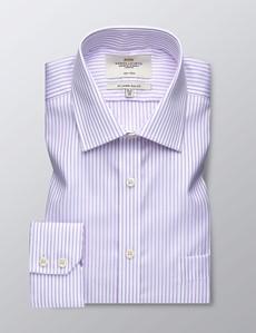 Men's Formal Lilac & White Herringbone Stripe Slim Fit Shirt - Single Cuff - Chest Pocket - Non Iron