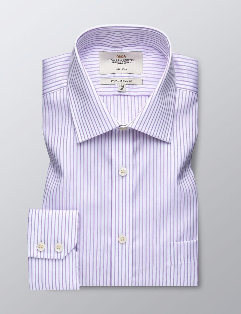 Men's Business Lilac & White Herringbone Stripe Slim Fit Shirt - Single Cuff - Chest Pocket - Non Iron