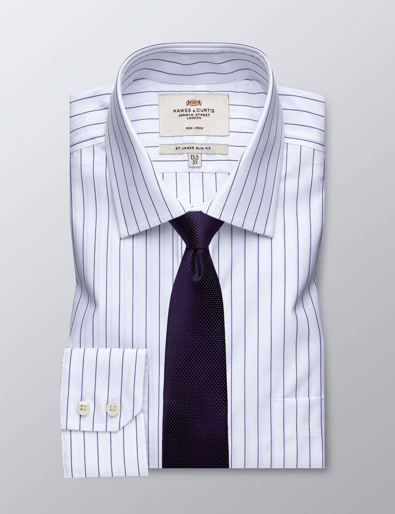 Men's Formal White & Navy Stripe Slim Fit Shirt - Single Cuff - Chest Pocket - Non Iron