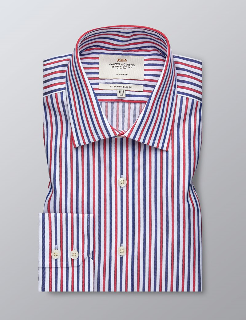Men's Formal Red & Navy Multi Stripe Slim Fit Shirt - Single Cuff - Non Iron