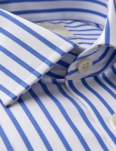 Men's Business Blue & White Stripe Slim Fit Shirt - Single Cuff - Non Iron