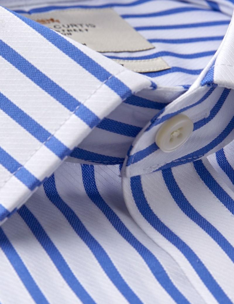 Men's Business Blue & White Stripe Slim Fit Shirt - Single Cuff - Chest Pocket - Non Iron
