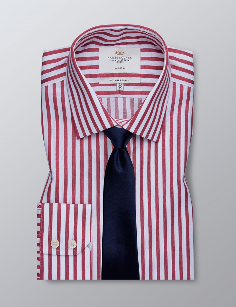 Men's Business Red & White Bengal Stripe Slim Fit Shirt - Single Cuff - Non Iron