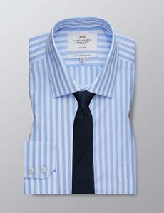 Men's Formal Light Blue & White Bengal Stripe Slim Fit Shirt - Single Cuff - Chest Pocket - Non Iron