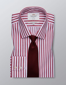 Men's Dress Red & White Stripe Slim Fit Shirt - Single Cuff - Non Iron