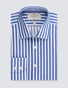 Men's Formal Royal & White Slim Fit Shirt - Single Cuff - Non Iron