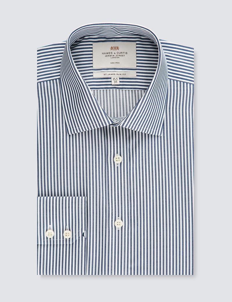 Men's Dress Navy & White Stripe Slim Fit Shirt - Single Cuff - Non Iron