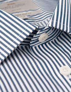 Bügelfreies Businesshemd – Slim Fit – Kentkragen – navy-weiß gestreift