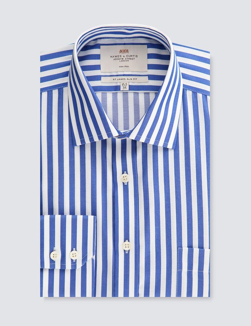 Men's Business Royal & White Stripe Slim Fit Shirt - Single Cuff - Non Iron