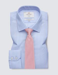 Non Iron Blue & Pink Multi Stripe Slim Fit Shirt