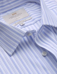 Men's Business Blue & White Multi Stripe Slim Fit Shirt with Semi Cutaway Collar and Single Cuff - Non Iron