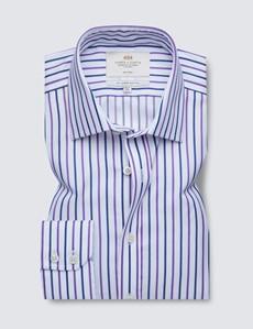 Non Iron Purple & Navy Multi Stripe Slim Fit Shirt