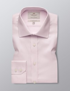 Men's Pink Textured Slim Fit Business Shirt - Single Cuff - Easy Iron