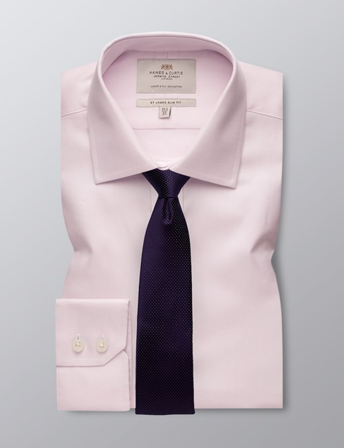 Men's Pink Textured Slim Fit Shirt - Single Cuff - Easy Iron