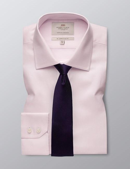 Men's Pink Textured Slim Fit Shirt - Single Cuff - Easy Iron