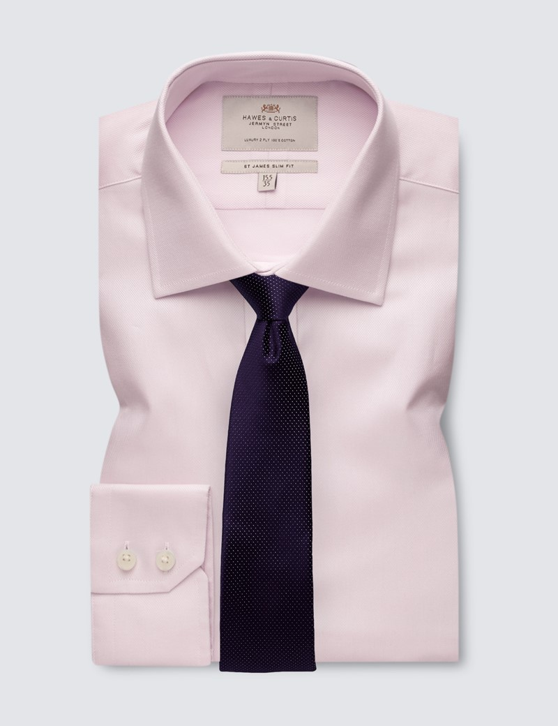 Men's Pink Textured Slim Fit Dress Shirt - Single Cuff - Easy Iron