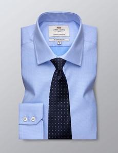 Men's Dress Blue & White Fabric Interest Slim Fit Shirt - Single Cuff - Easy Iron