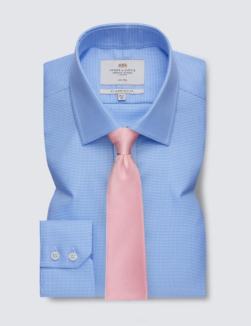 Bügelfreies Businesshemd – Slim Fit – Kentkragen – Hahnentritt blau