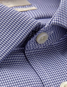 Men's Formal Navy & White Dogstooth Slim Fit Shirt - Single Cuff - Non Iron