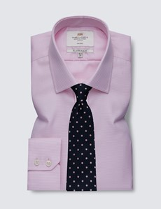 Men's Formal Pink & White Dogstooth Slim Fit Shirt - Single Cuff - Non Iron