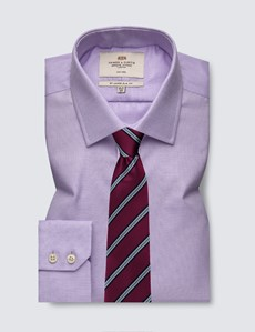 Men's Dress Lilac & White Dobby Slim Fit Shirt - Single Cuff - Non Iron