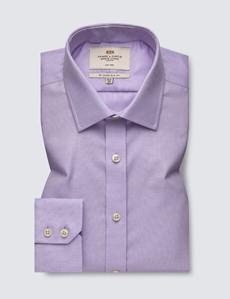 Men's Formal Lilac & White Dobby Slim Fit Shirt - Single Cuff - Non Iron