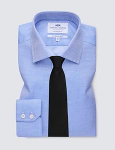 Men's Business Navy & White Fabric Interest Slim Fit Single Cuff Shirt - Non Iron