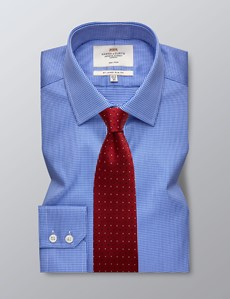 Men's Formal Navy & White Dogstooth Check Slim Fit Shirt - Single Cuff - Non Iron