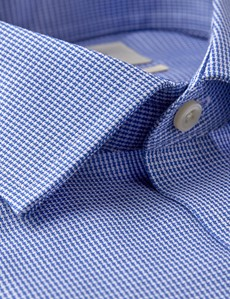 Men's Formal Blue & White Fabric Interest Slim Fit Shirt - Single Cuff - Non Iron