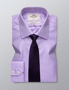 Bügelfreies Businesshemd – Slim Fit – Kentkragen – Dobby flieder
