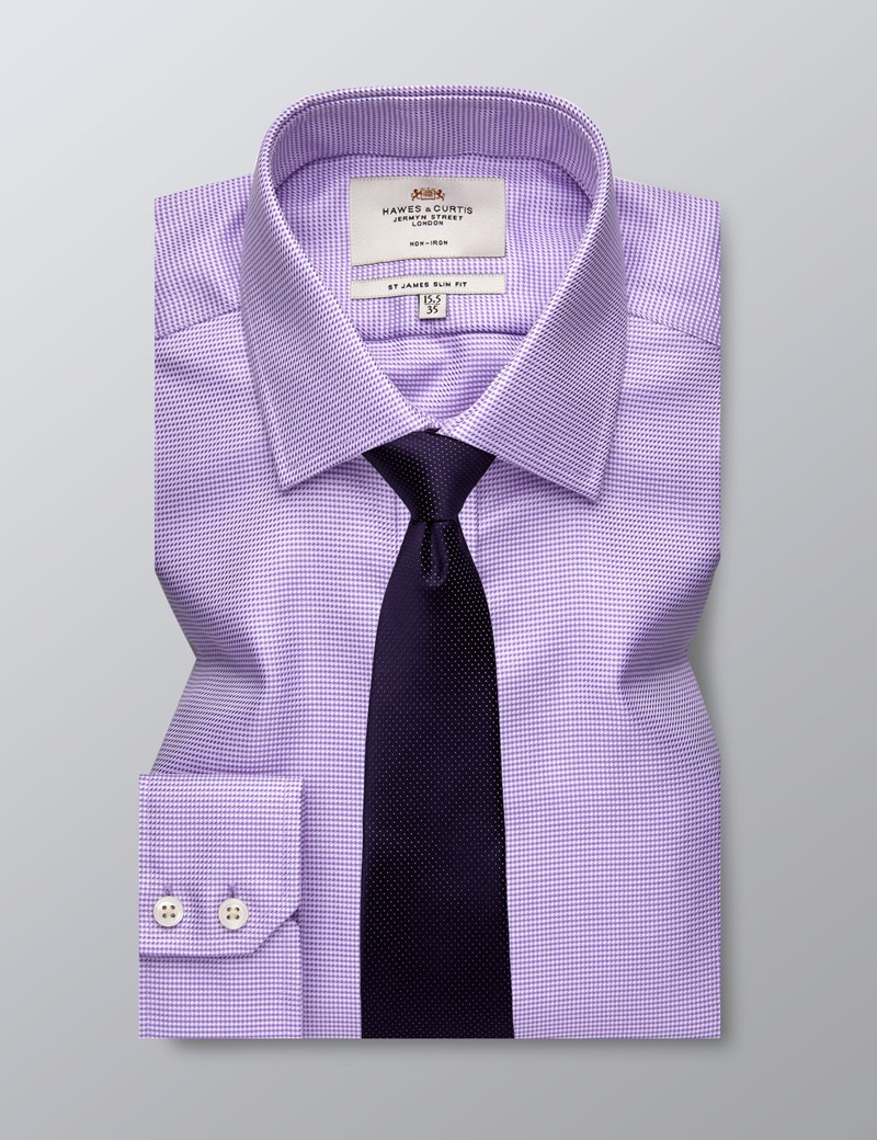 Men's Business Lilac Slim Fit Shirt - Single Cuff - Non Iron