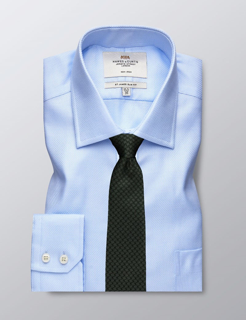 Men's Business Blue Dobby Slim Fit Shirt - Single Cuff - Chest Pocket - Non Iron