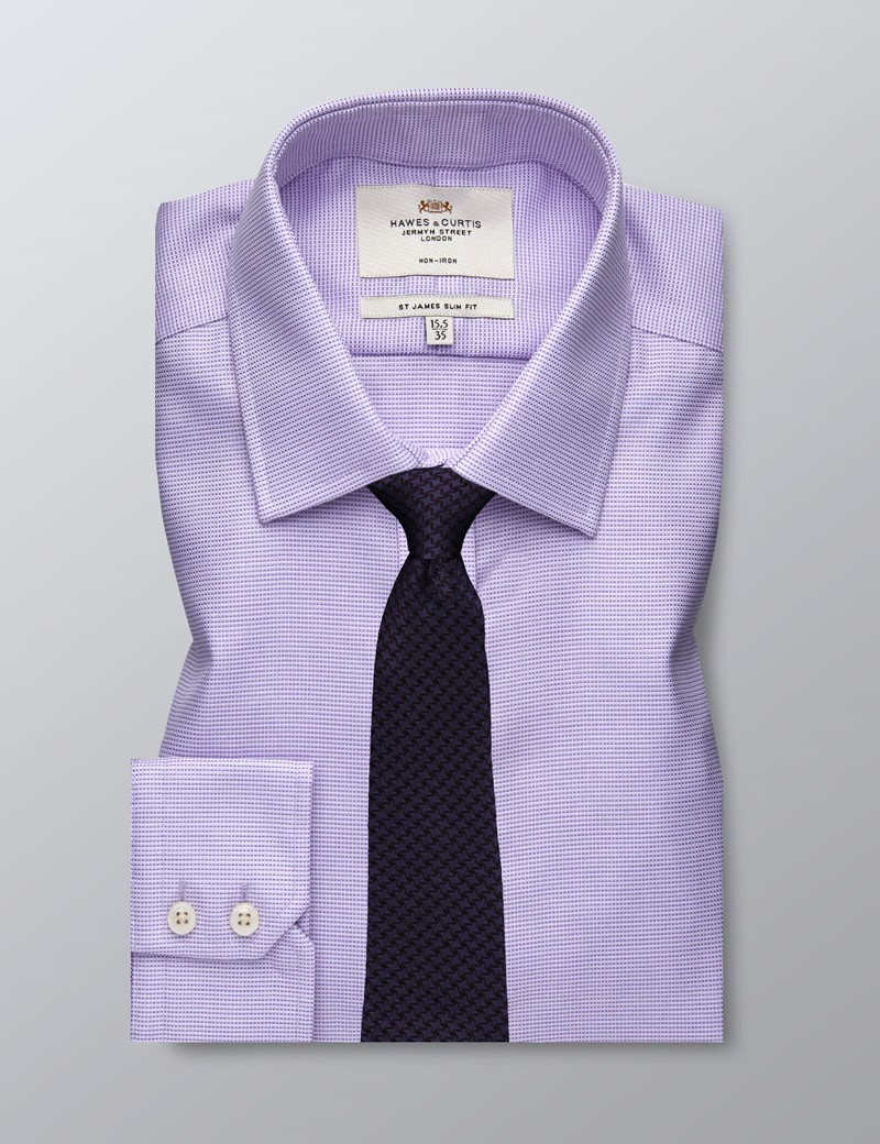Men's Formal Lilac Dobby Slim Fit Shirt - Single Cuff - Non Iron