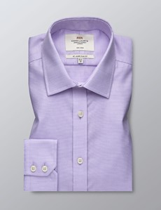 Men's Dress Lilac Dobby Slim Fit Shirt - Single Cuff - Non Iron