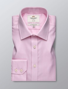 Men's Dress Pink Puppytooth Slim Fit Shirt - Single Cuff - Non Iron