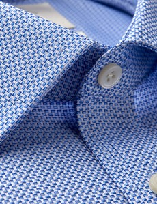 Men's Dress Blue & White Dobby Slim Fit Shirt - Single Cuff - Non Iron