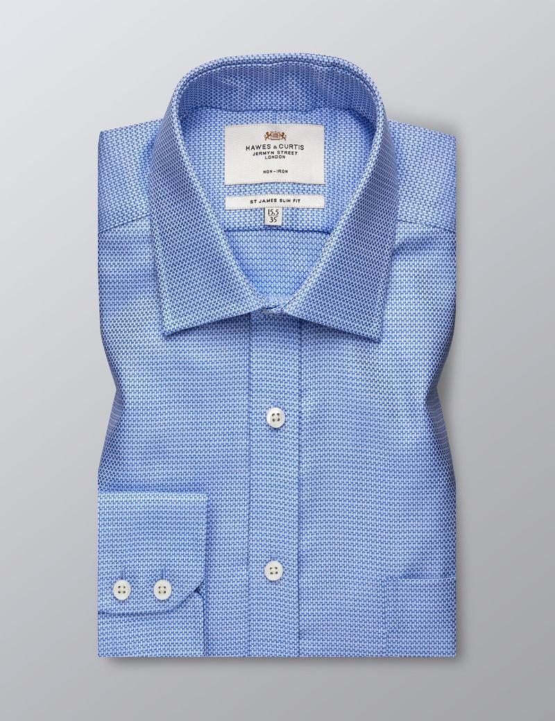 Men's Formal Blue & White Dobby Slim Fit Shirt - Single Cuff - Chest Pocket - Non Iron