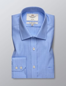 Men's Formal Blue Dogstooth Check Slim Fit Shirt - Single Cuff - Chest Pocket - Non Iron