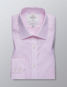 Men's Dress Pink Fabric Interest Slim Fit Shirt - Single Cuff - Chest Pocket - Non Iron