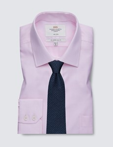 Men's Business Pink Fabric Interest Slim Fit Shirt - Single Cuff - Chest Pocket - Non Iron