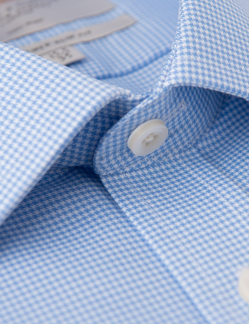 Men's Formal Blue Houndstooth Check Slim Fit Shirt - Single Cuff - Non Iron