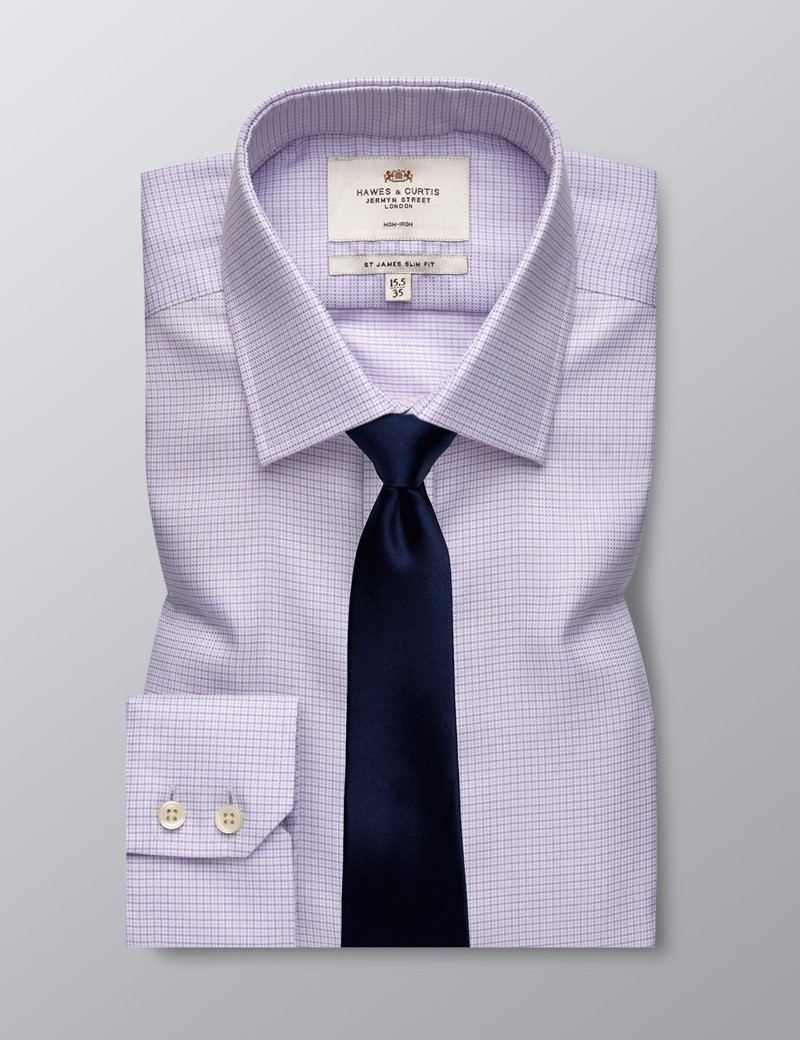 Men's Business Lilac and White Fabric Interest Slim Fit Shirt - Single Cuff - Non Iron