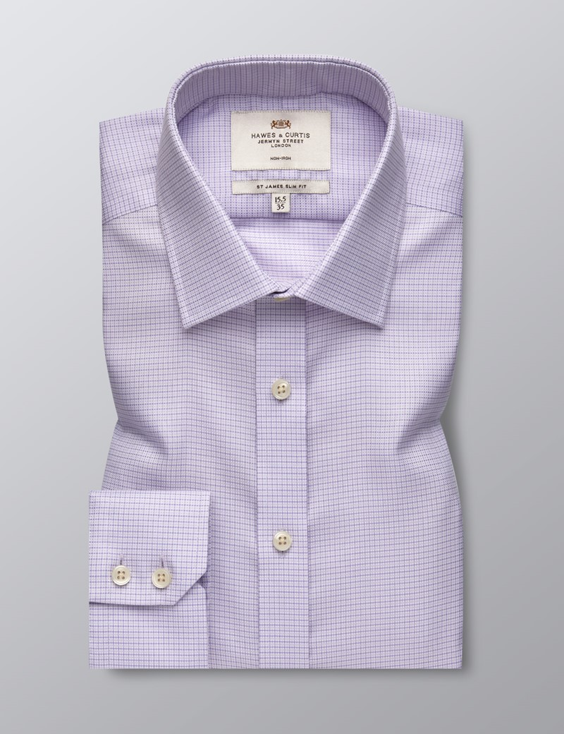Men's Formal Lilac and White Fabric Interest Slim Fit Shirt - Single Cuff - Non Iron