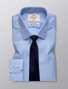 Men's Formal Blue Fabric Interest Slim Fit Shirt - Single Cuff - Non Iron