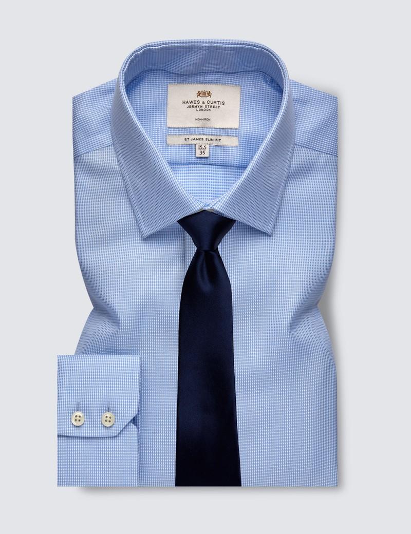 Men's Formal Blue Fabric Interest Slim Fit Shirt - Single Cuff - Non Iron