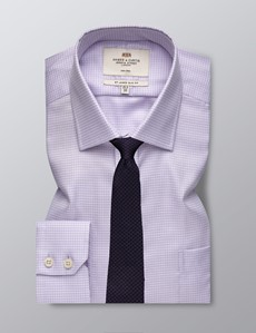 Men's Dress Lilac and White Fabric Interest Slim Fit Shirt - Single Cuff and Chest Pocket - Non Iron