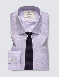 Men's Formal Lilac and White Fabric Interest Slim Fit Shirt - Single Cuff and Chest Pocket - Non Iron