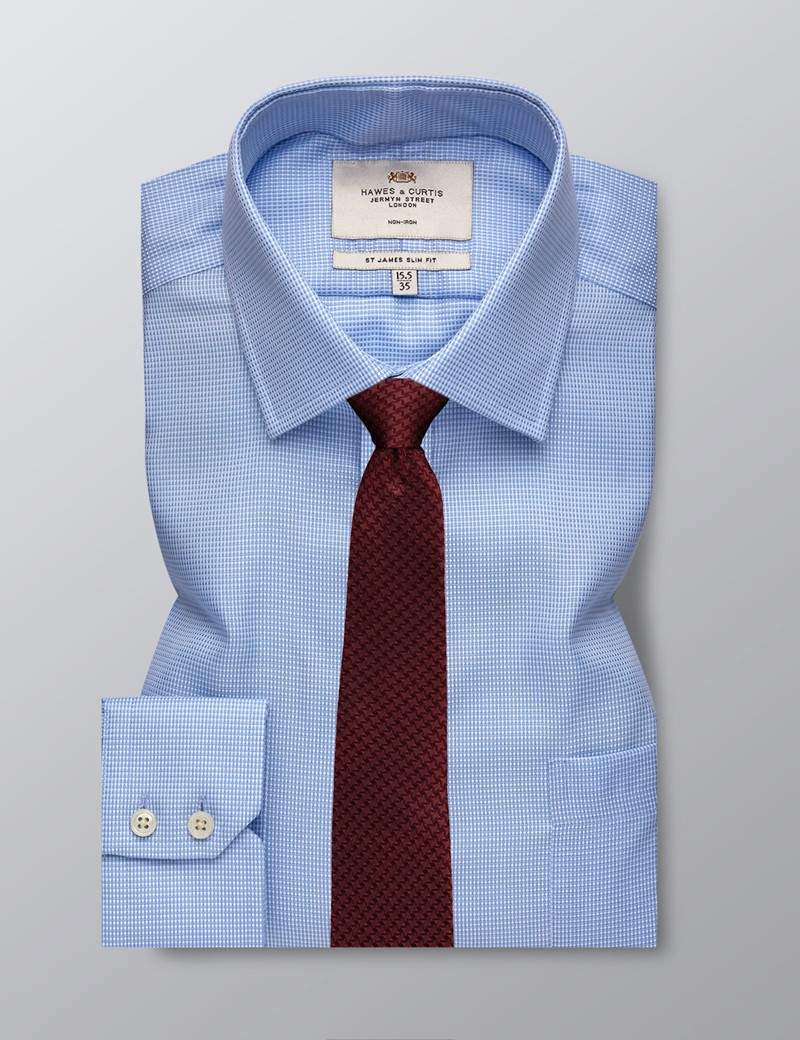 Men's Business Blue Fabric Interest Slim Fit Shirt - Single Cuff and Chest Pocket - Non Iron