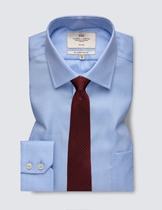 Men's Formal Blue Fabric Interest Slim Fit Shirt - Single Cuff and Chest Pocket - Non Iron